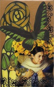 Woman with yellow roses web